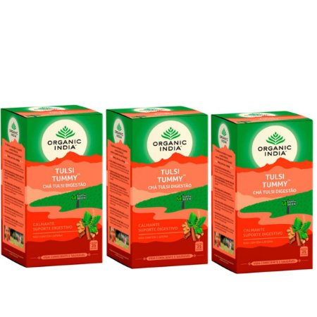 Kit 3x Chá Tulsi Digestão Tummy Organic India 25 Saches