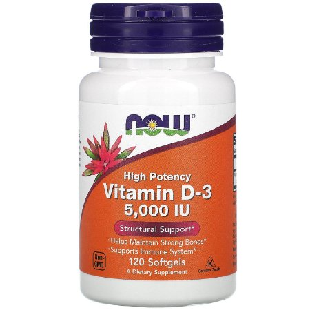 Vitamina D3 de Alta Potência, 5.000 UI, 120 Cáps, Now Foods