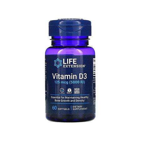 Vitamina D3, Life Extension, 5.000 UI 60 Cápsulas, Importado