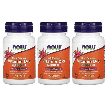 Kit 3x Vitamina D3 Alta Pot, 5.000 UI, 120 Cáps, Now Foods