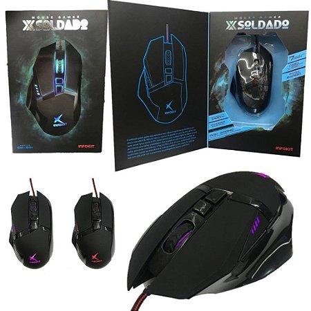 Mouse Gamer Soldado 6 Botões 3200 DPI com LED RGB