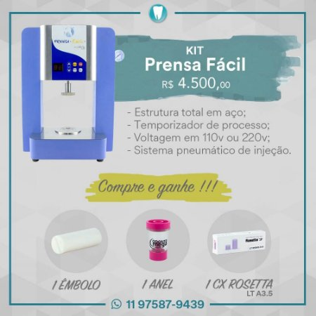 KIT PRENSA FÁCIL VRC+ÊMBOLO+ANEL 100GR+CX/5 ROSETTA LTA3,5|VRC|ODONTOMEGA|KITPF1