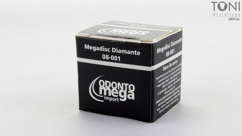 MEGADISC| DISCO FIBRA DIAMANTADO|CX/10 UND|20x0,25MM|DISSILICATO|CERÂMICA|ODONTOMEGA