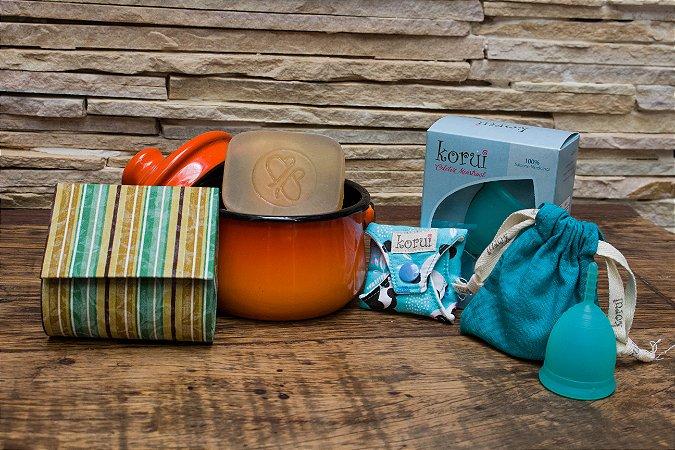 Kit Mimoso Korui - Coletor Menstrual + Panelinha Ewel + 1 protetor de calcinha + bolsinha + 1 Sabonete Orgânico
