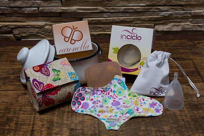Kit Fofo Inciclo: Coletor + panelinha + bolsinha artesanal + protetor de calcinha de pano + sabonete natural