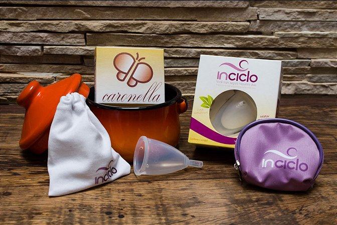 Kit Prático Inciclo: Coletor menstrual + Porta Inciclo + Panelinha + Sabonete Neutro
