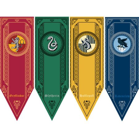 Bandeiras Harry Potter: Grifinória, Sonserina, Lufa-Luva e Corvinal