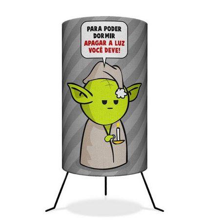 """Luminária Mestre Yoda """"Apagar a Luz Você Deve"""" - Star Wars"""