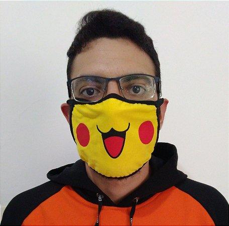 Máscara de Tecido Pikachu PokémonReutilizável