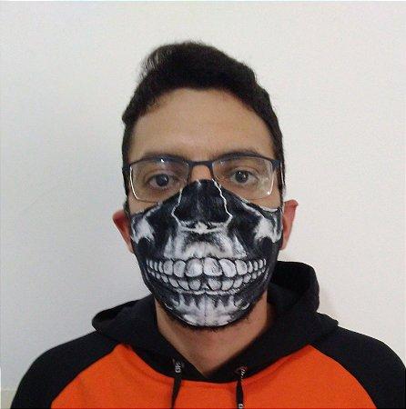 Máscara de Tecido Caveira - Esqueleto Reutilizável