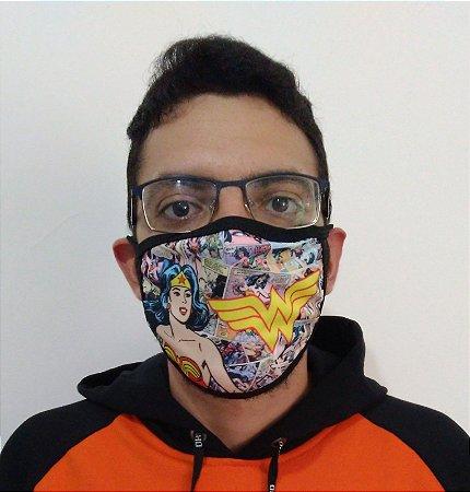 Máscara de Tecido Mulher Maravilha Reutilizável (modelo 2)