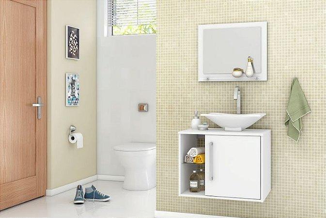 Gabinete de Banheiro Com Espelho Baden Branco - Bechara