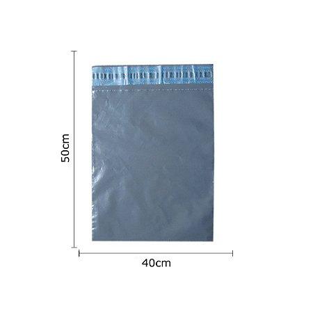 Envelopes de segurança na cor cinza. Dimensões 40 cm x 50 cm - Pacotes com 100 unidades - Material Reciclado.
