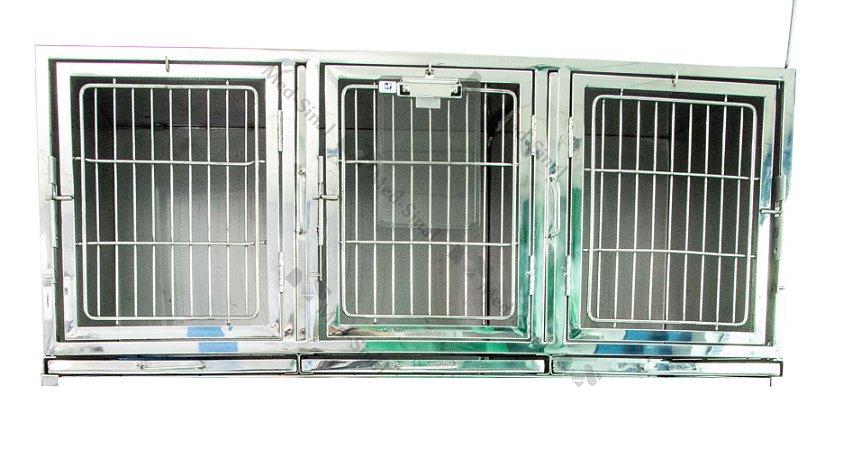 Canil inox triplo para 3 animais