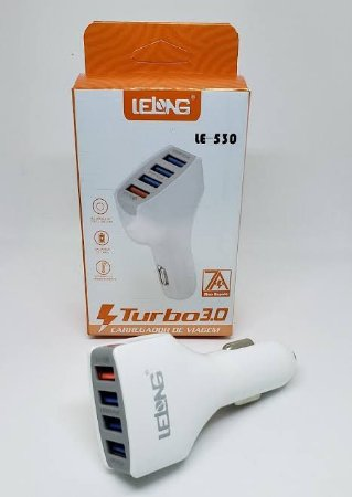 Carregador Veicular 4USB - 1USB Turbo 3.0 LE-530 - Lelong