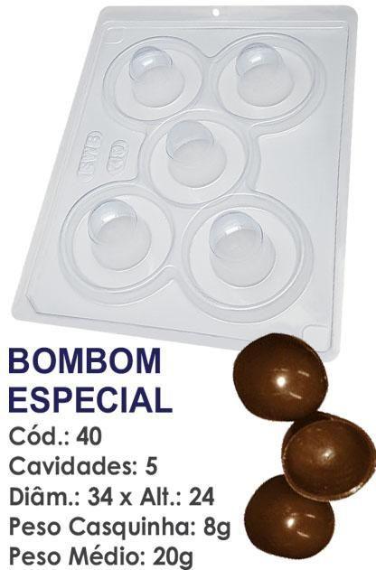 FORMA PARA CHOCOLATE COM SILICONE BWB BOMBOM ESPECIAL 20GR R.40_PF11