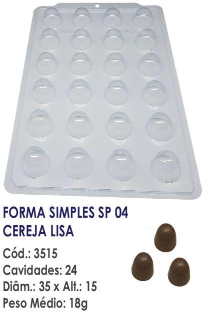 FORMA PLÁSTICA PARA CHOCOLATE SEMI PROFISSIONAL BWB SIMPLES CEREJA LISA SP04 R.3515