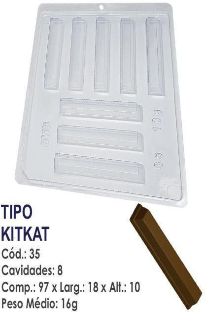 FORMA PLÁSTICA PARA CHOCOLATE BWB BARRINHA KIT KAT UN R.35_1558F