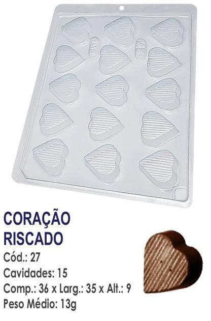 FORMA PLÁSTICA PARA CHOCOLATE BWB BOMBOM CORAÇÃO RISCADO UN R.27