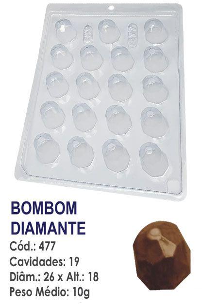 FORMA PLÁSTICA PARA CHOCOLATE BWB BOMBOM REDONDO DECORADO DIAMANTE UN R.477_1896F_511