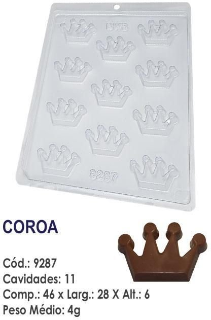FORMA PLÁSTICA PARA CHOCOLATE BWB BOMBOM COROA UN R.9287