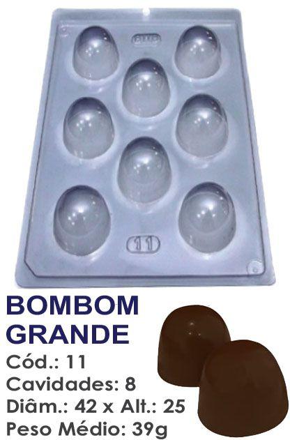 FORMA PLÁSTICA PARA CHOCOLATE BWB BOMBOM TRUFA GRANDE LISO 39G UN R.11_502