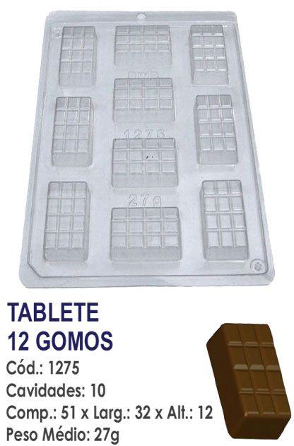 FORMA PLÁSTICA PARA CHOCOLATE BWB TABLETE DE CHOCOLATE 12 GOMOS UN R.1275