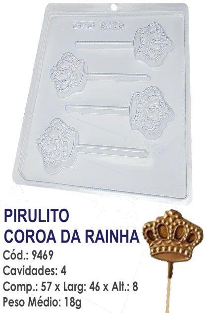 FORMA PLÁSTICA PARA CHOCOLATE BWB PIRULITO COROA DA RAINHA UN R.9469