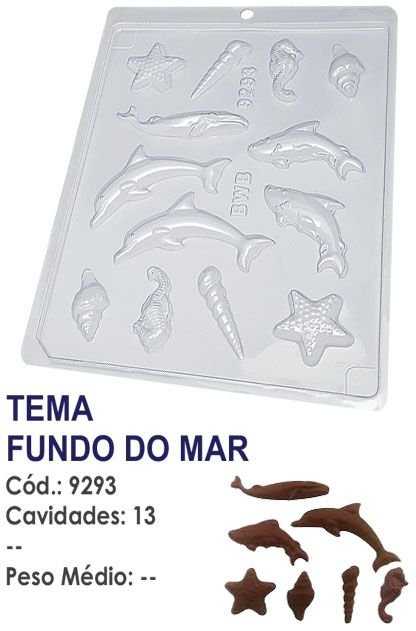 FORMA PLÁSTICA PARA CHOCOLATE BWB BOMBOM TEMA FUNDO DO MAR UN R.9293