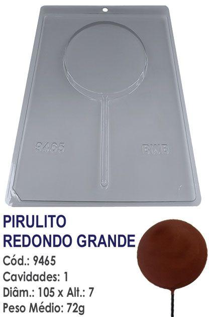 FORMA PLÁSTICA PARA CHOCOLATE BWB PIRULITO REDONDO GRANDE LISO UN R.9465