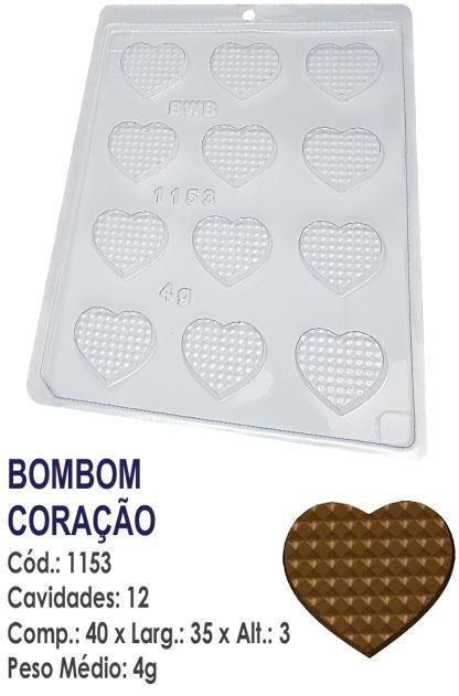 FORMA PLÁSTICA PARA CHOCOLATE BWB BOMBOM CORAÇÃO 4G UN R.1153_1977F