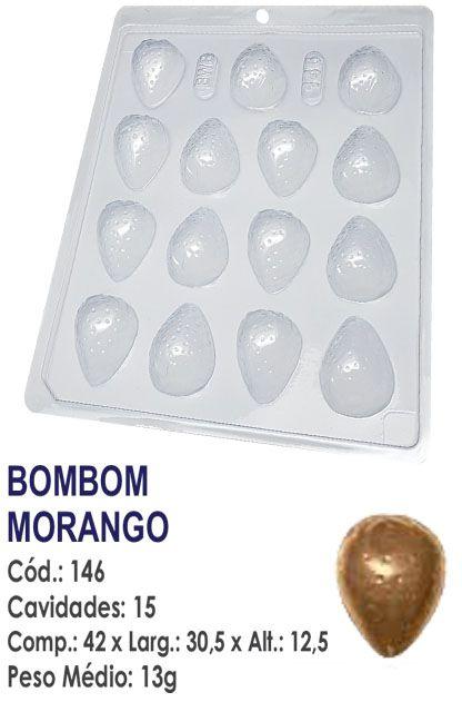 FORMA PLÁSTICA PARA CHOCOLATE BWB BOMBOM FRUTA MORANGO UN R.146