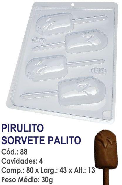 FORMA PLÁSTICA PARA CHOCOLATE BWB PIRULITO SORVETE DE PALITO UN R.88