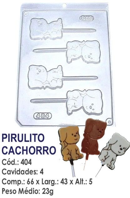 FORMA PLÁSTICA PARA CHOCOLATE BWB PIRULITO CACHORRO ANIMAIS UN R.404