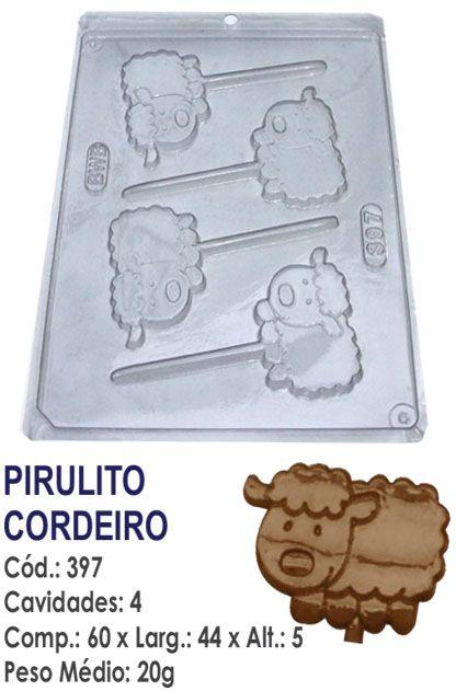 FORMA PLÁSTICA PARA CHOCOLATE BWB PIRULITO CORDEIRO CARNEIRINHO ANIMAIS UN R.397_164