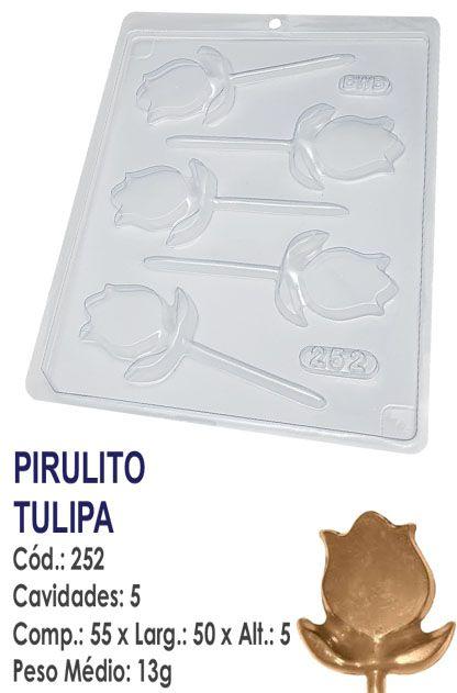FORMA PLÁSTICA PARA CHOCOLATE BWB PIRULITO FLOR TULIPA UN R.252