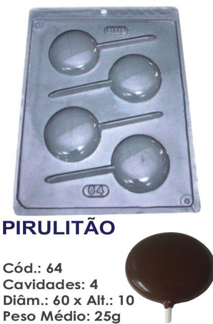 FORMA PLÁSTICA PARA CHOCOLATE BWB PIRULITO LISO MÉDIO 25G UN R.64_1566F_403