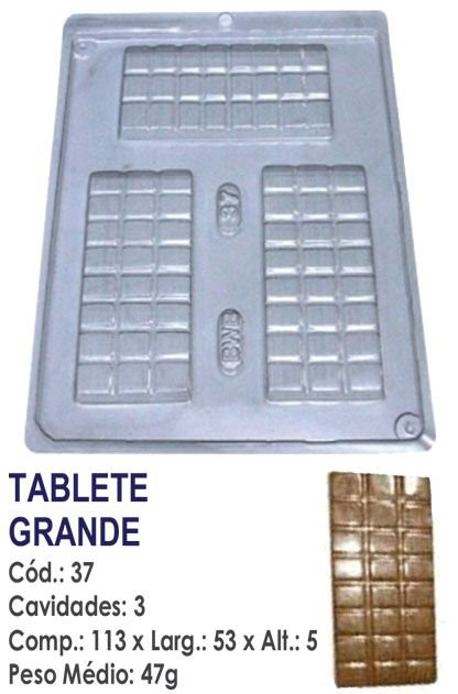 FORMA PLÁSTICA PARA CHOCOLATE BWB TABLETE DE CHOCOLATE GRANDE UN R.37
