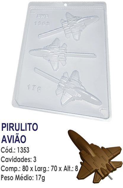 FORMA PLÁSTICA PARA CHOCOLATE BWB PIRULITO AVIÃO UN R.1353_1990F