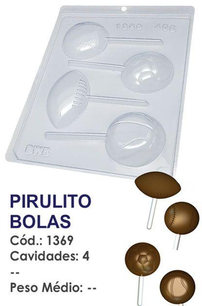 FORMA PLÁSTICA PARA CHOCOLATE BWB PIRULITO BOLAS UN R.1369