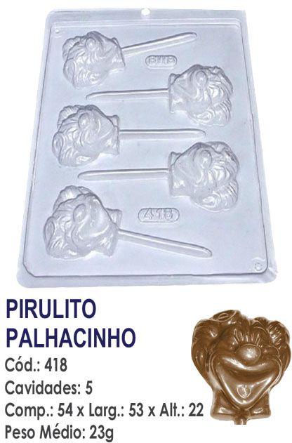 FORMA PLÁSTICA PARA CHOCOLATE BWB PIRULITO PALHACINHO UN R.418_405
