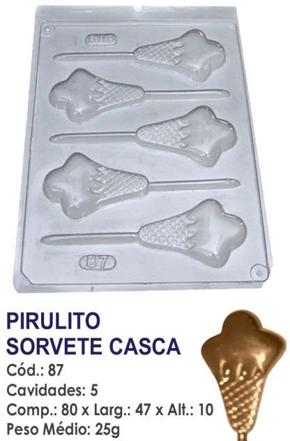 FORMA PLÁSTICA PARA CHOCOLATE BWB PIRULITO SORVETE DE CASCA UN R.87