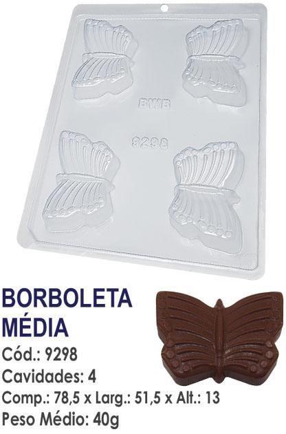 FORMA PLÁSTICA PARA CHOCOLATE BWB BORBOLETA UN R.9298
