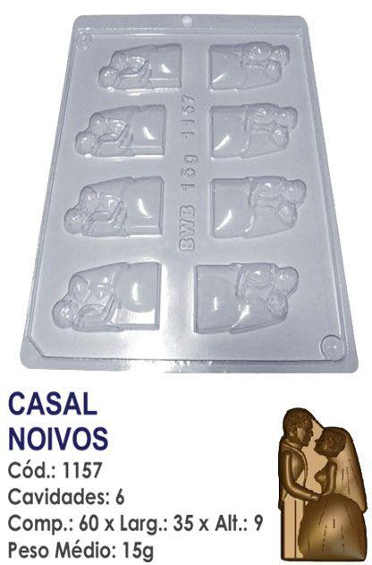 FORMA PLÁSTICA PARA CHOCOLATE BWB BOMBOM CASAL NOIVOS GRANDE UN R.1157