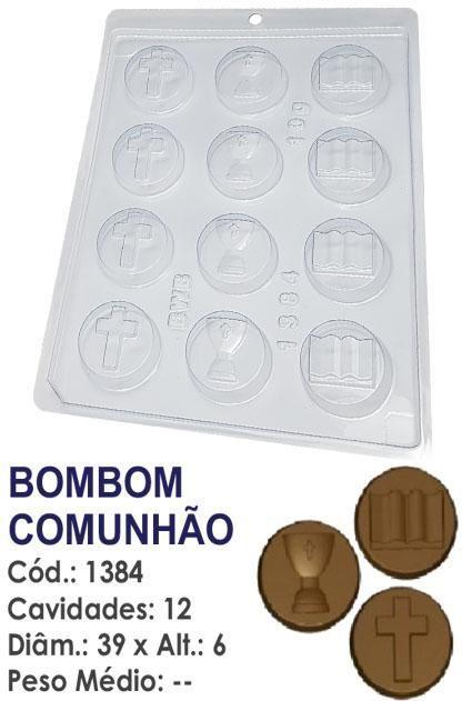 FORMA PLÁSTICA PARA CHOCOLATE BWB BOMBOM COMUNHÃO UN R.1384