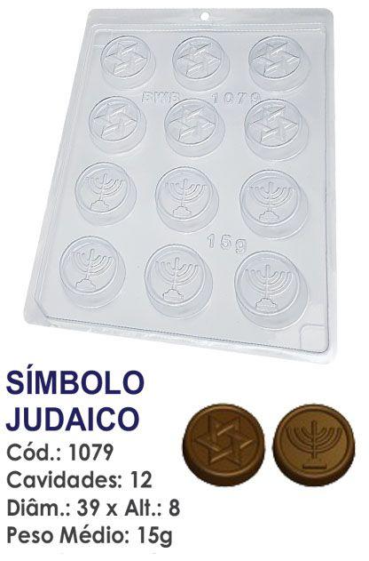 FORMA PLÁSTICA PARA CHOCOLATE BOMBOM BWB SÍMBOLO JUDAICO UN R.1079