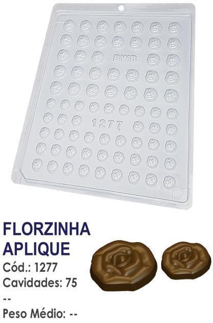 FORMA PLÁSTICA PARA CHOCOLATE BOMBOM BWB FLORZINHA APLIQUE UN R.1277
