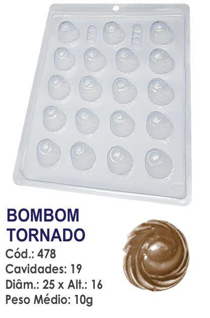 FORMA PLÁSTICA PARA CHOCOLATE BWB BOMBOM REDONDO DECORADO TORNADO UN R.478