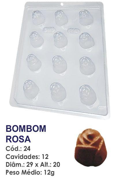 FORMA PLÁSTICA PARA CHOCOLATE BWB BOMBOM REDONDO DECORADO ROSA UN R.24_1551F_508