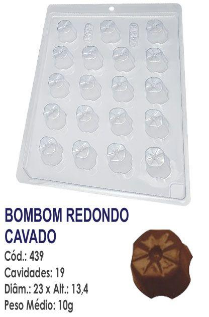 FORMA PLÁSTICA PARA CHOCOLATE BOMBOM BWB REDONDO DECORADO CAVADO UN R.439